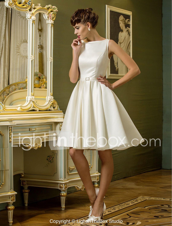 Wedding dress for body type quiz  ALine Bateau Neck Knee Length Satin Wedding Dress with Sash