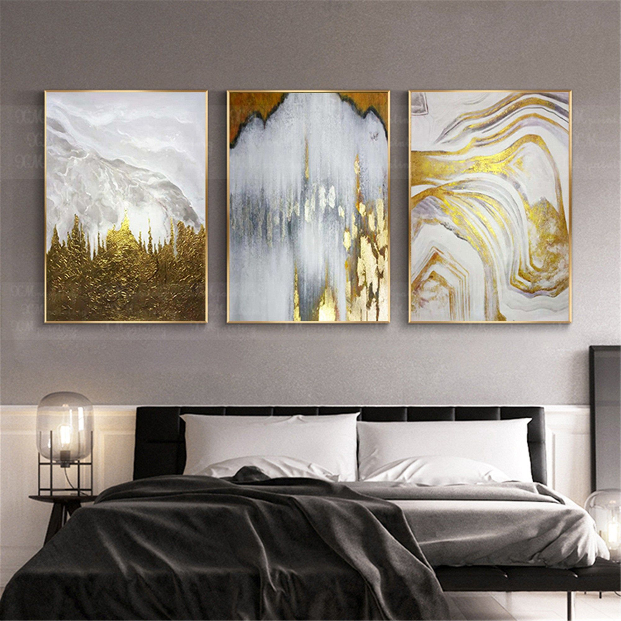 3 Pieces Gold Leaf Abstract Painting