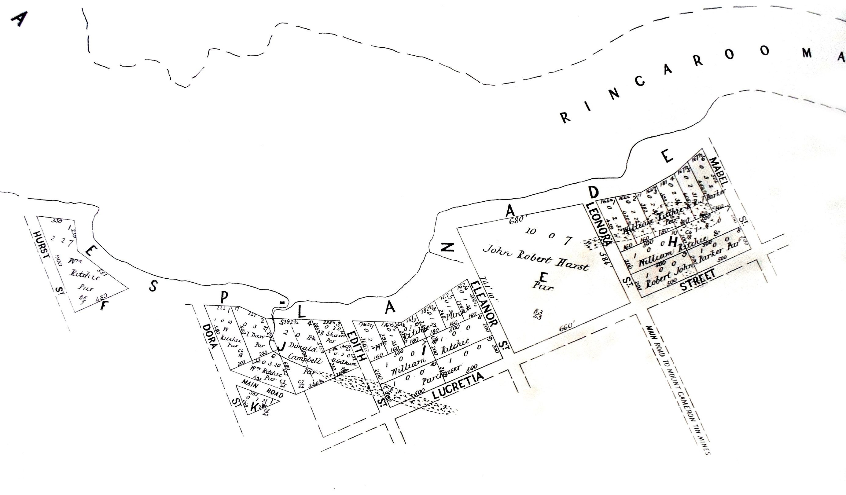 Late 1800s plan of the port town (now ghost town) of