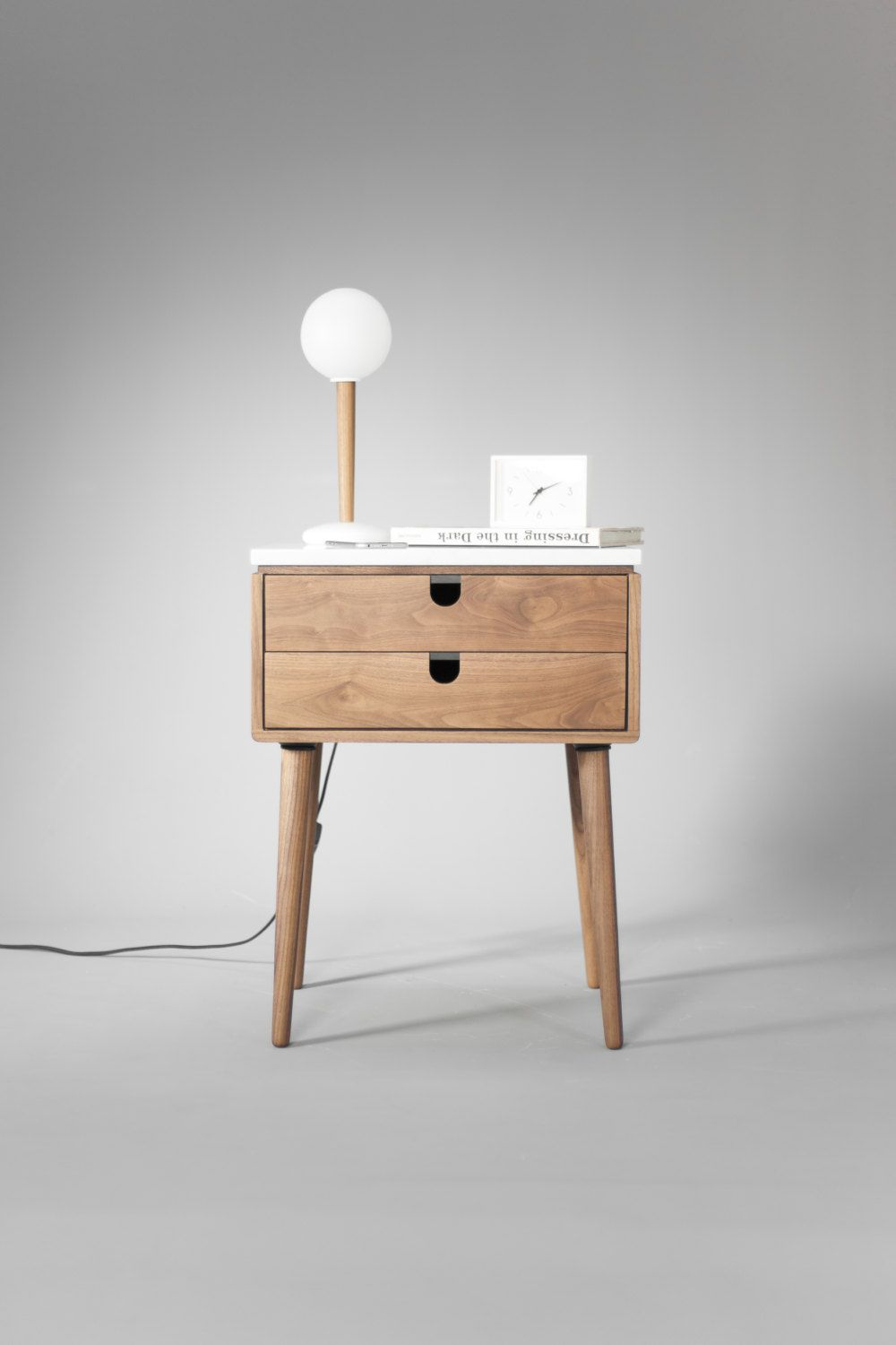 Nightstand Bedside Table With Two Drawers In Solid Walnut Wood Etsy Bedside Table Scandinavian Scandinavian Bedside Bedside Table