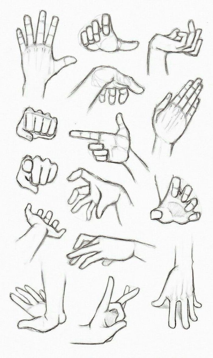 différents gestes de la main comment dessiner une fille anime, noir et blanc, c...
