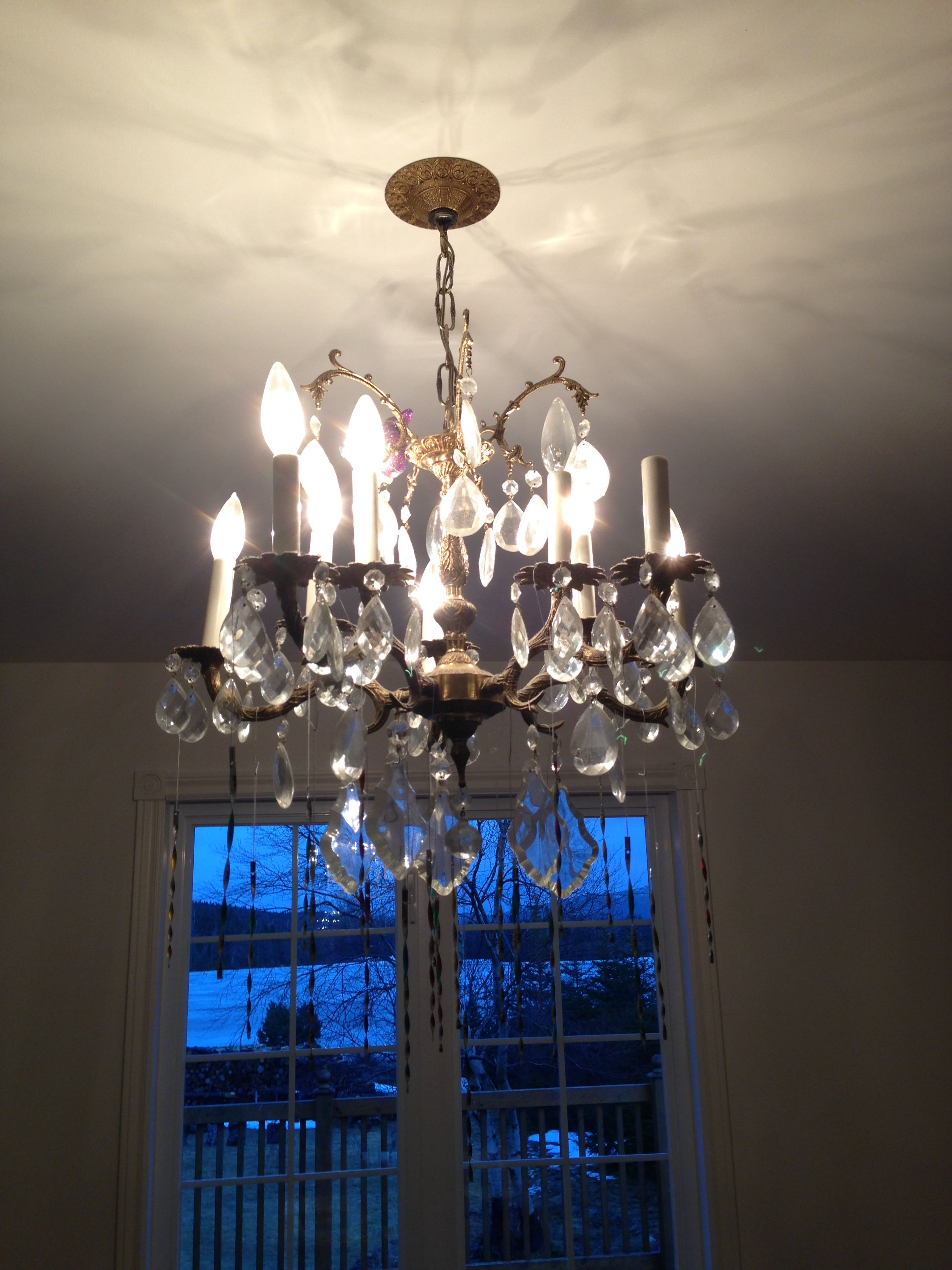 1 OUTDATED DINING ROOM CHANDELIER MAKEOVER BEFORE Our old brass