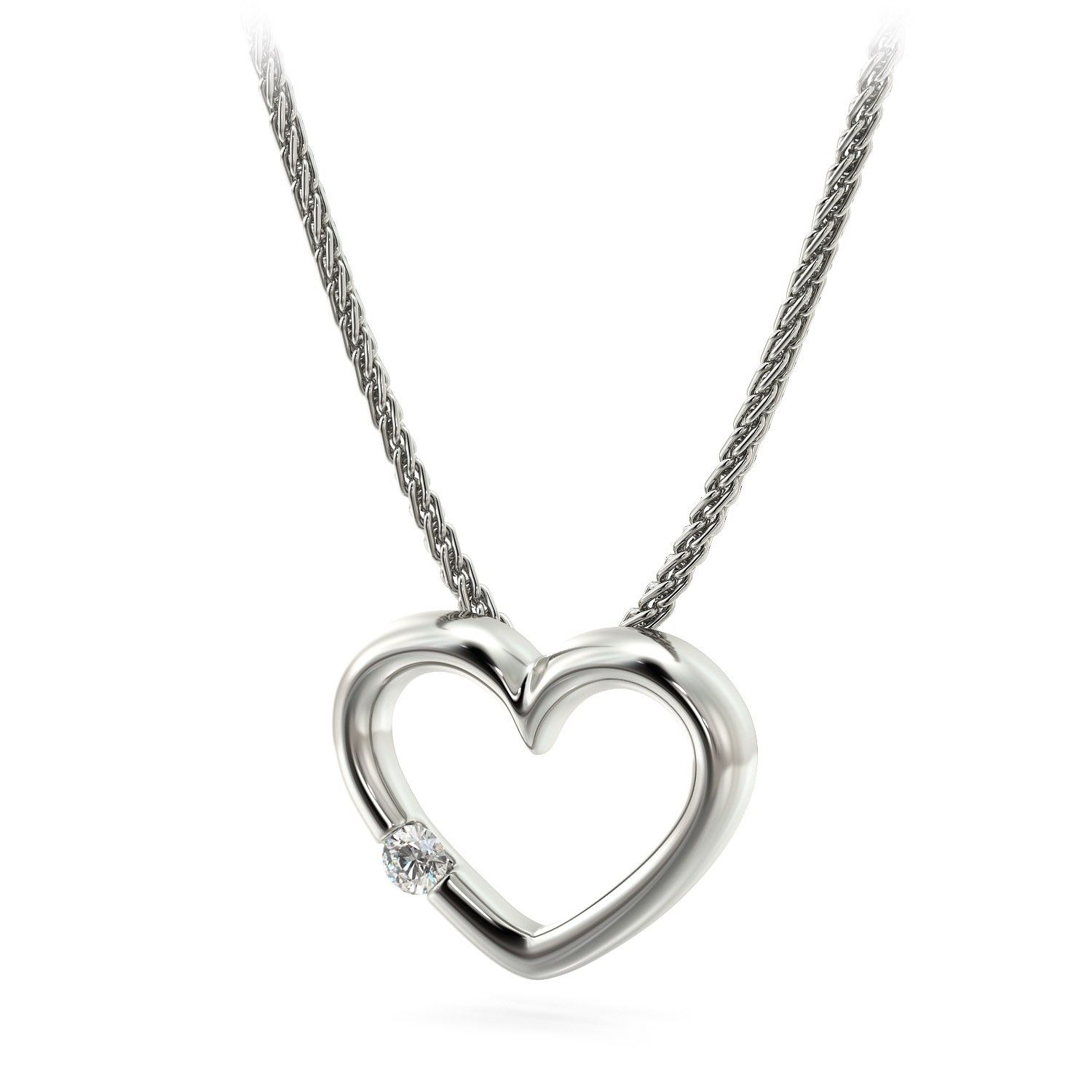 14kt White Gold and Diamond heart shaped pendant Visit our