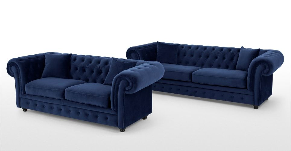 Best Branagh 3 Seater Chesterfield Sofa Electric Blue Velvet 400 x 300