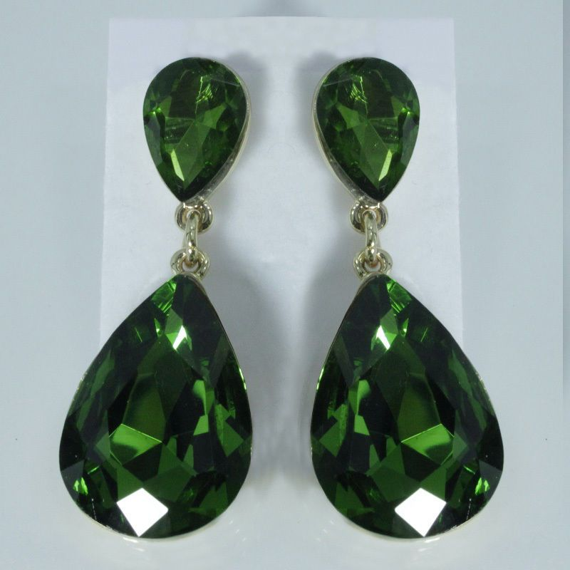 Celebrity Inspired 1 3 4 Drop Earrings Emerald Green Crystal Red Carpet Look Uk Ebay Fashion