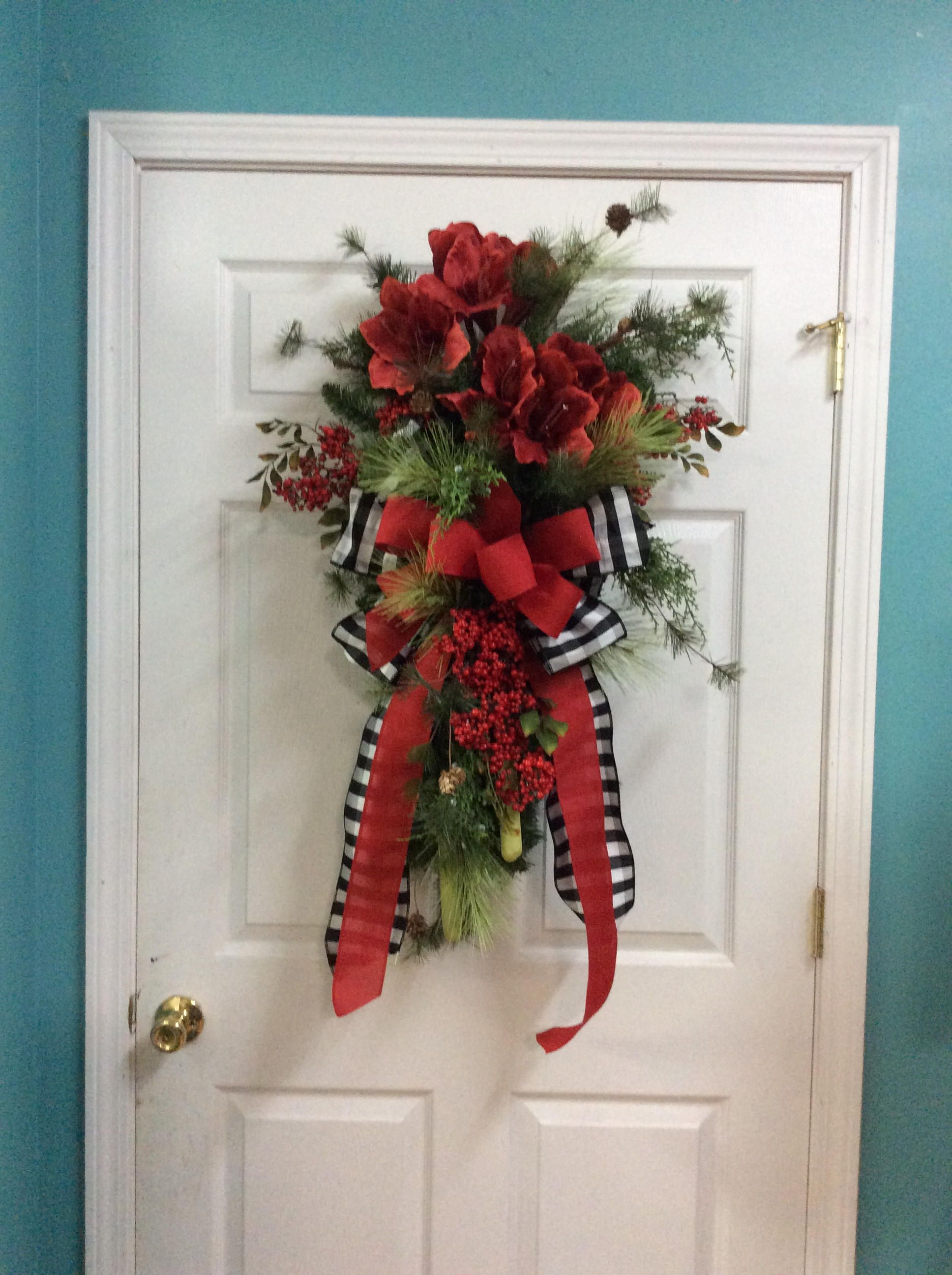 Christmas double door swags,Christmas swags for double