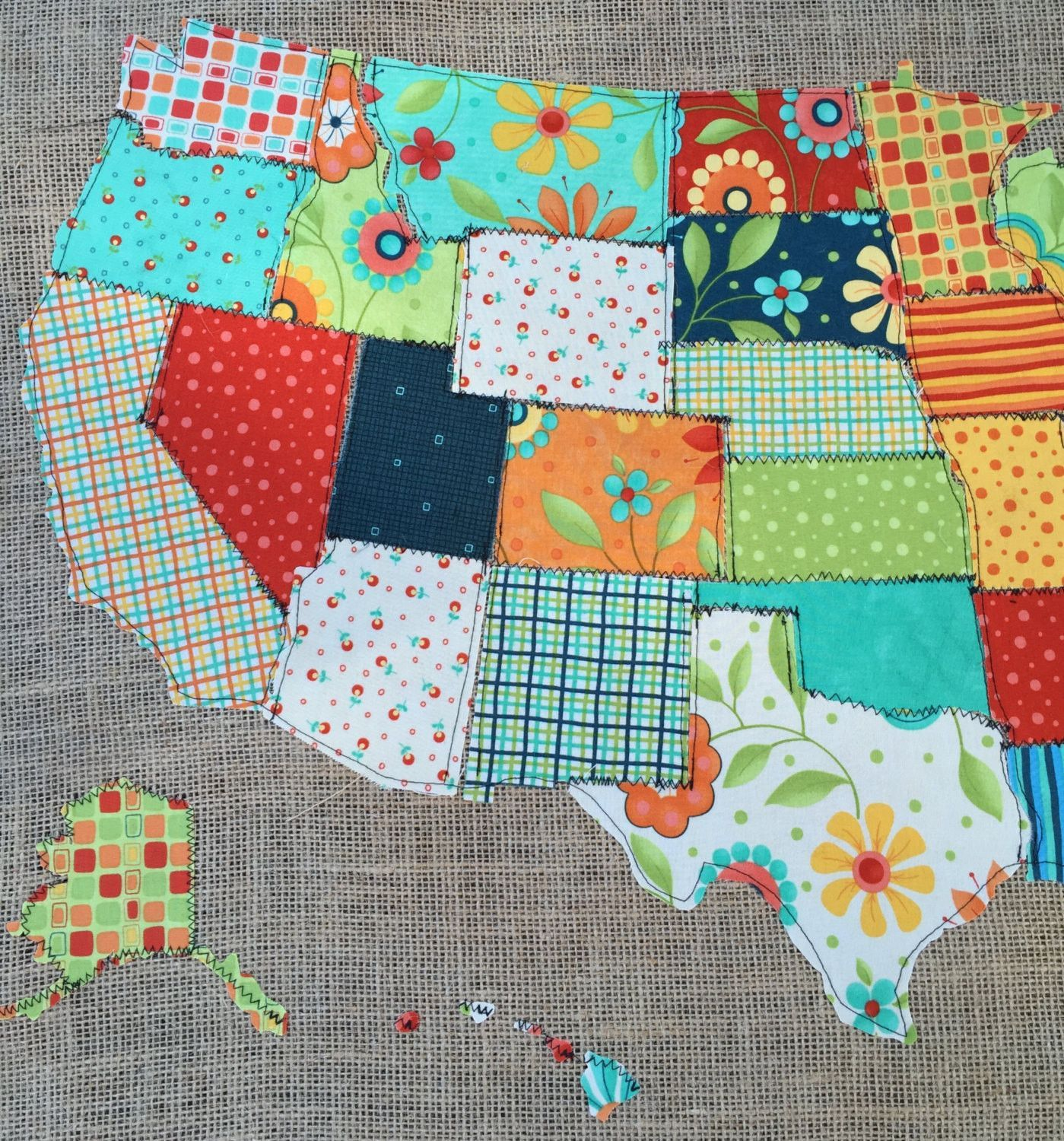 This stunning scrap map is a fabric map of the united states quilted this stunning scrap map is a fabric map of the united states quilted on burlap gumiabroncs Image collections