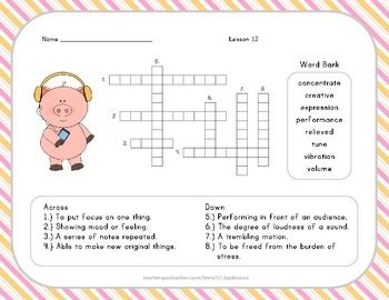 Crossword Puzzle - 2nd Grade - Journeys Lesson 12