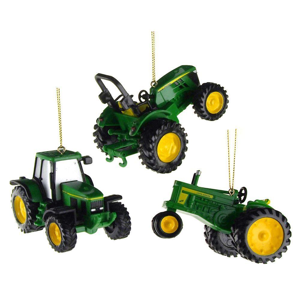 John Deere Tractor Plastic Christmas Ornaments, Green, 2-Inch, 3 ...