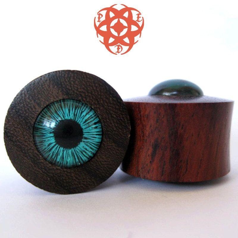 0g Wood Ear Plugs, Turquoise Blue Eyes, Eye Plugs, Turquoise Eyes, Gauges Plugs, Blue Eye Inlay, Glass Plugs, Ear Gauges, Pierced Eye Design