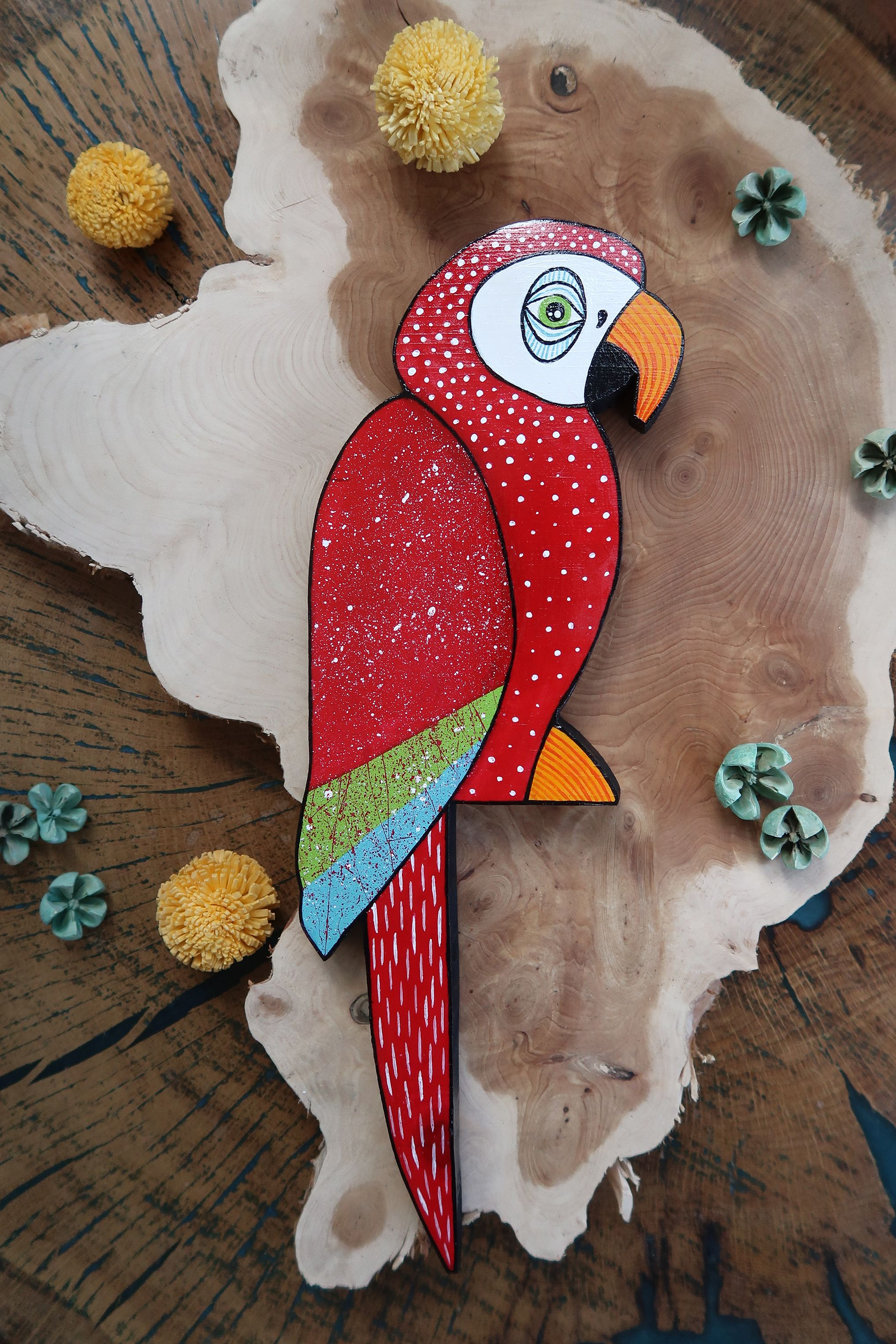 Red Parrot Home Decor Decoration Ornament Shelf Wall Jungle Inspired Wooden Hand Painted Bird Hand Painted Wooden Bird Wooden Hand