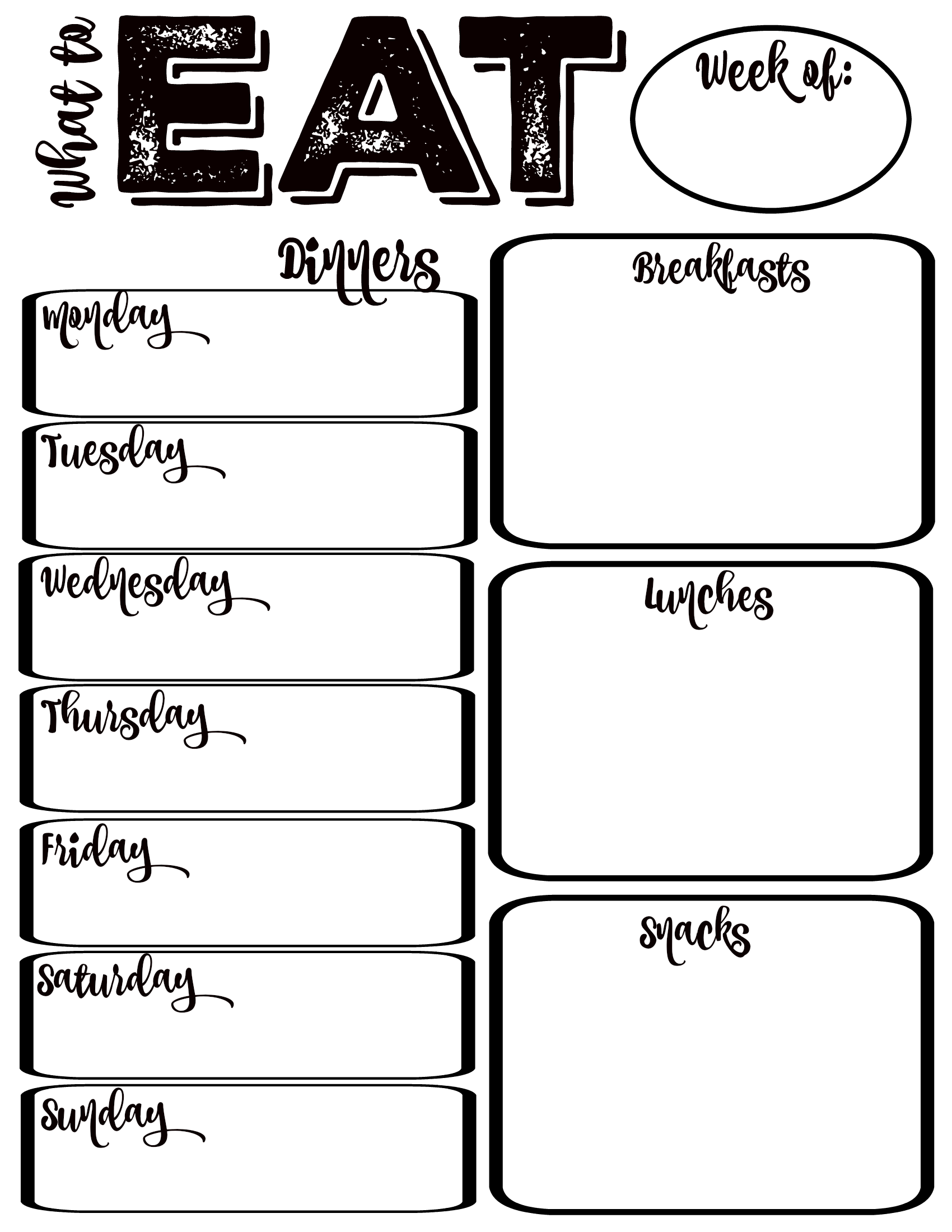 Free Printable What to Eat Weekly Meal Planning at thehappyhousie.com