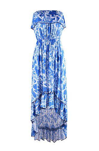 f78e7eddb2d3 2LUV Women s Strapless Antique Prints Hi-Lo Summer Holiday Resort Beach  Dress Royal Blue   White XL (3055)