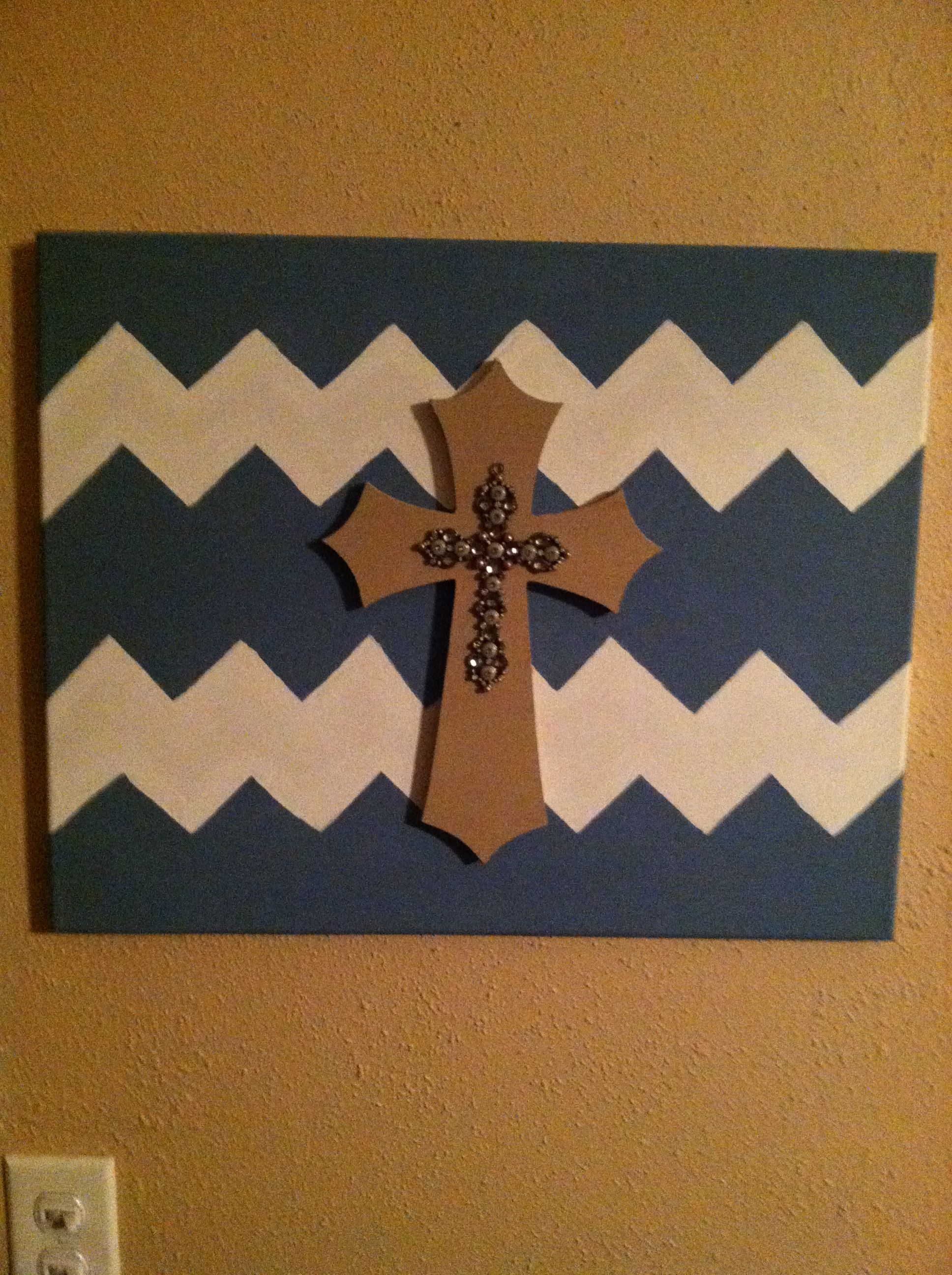 Chevron painting with cross