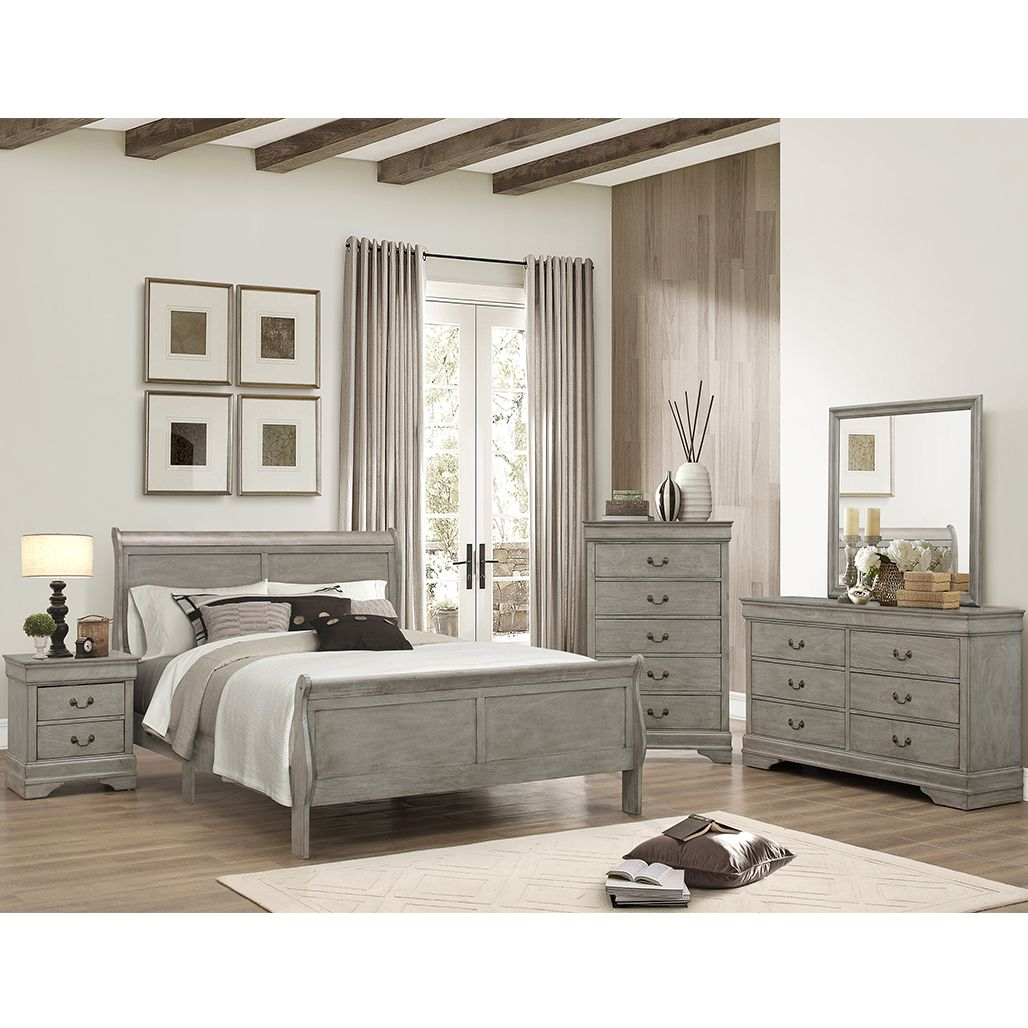 This affordable grey bedroom set is available in twin ...