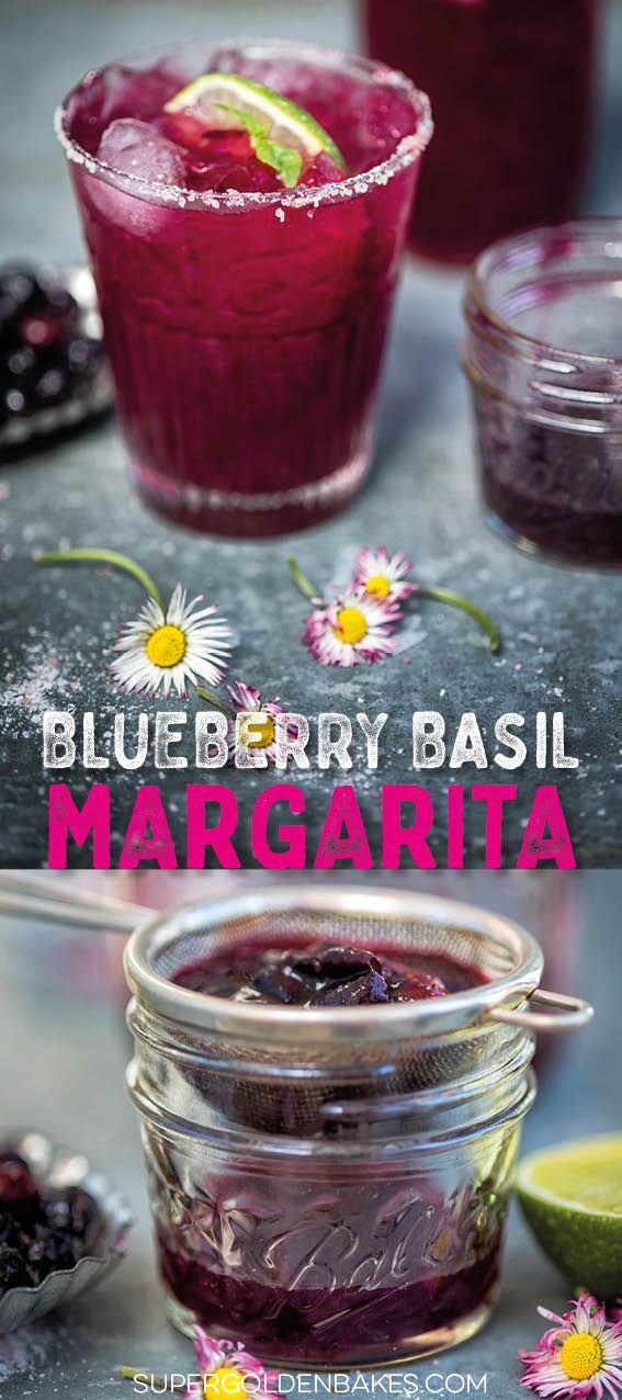 Blueberry Basil Margarita - you will love this sweeter take on the classic cocktail #margarita #tequila #cocktails #drinks #supergoldenbakes #tequiladrinks