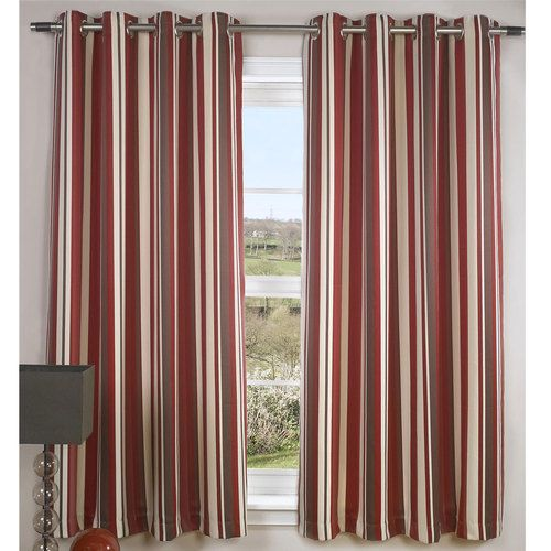 Modern Cream Striped Lined Eyelet Jacquard Curtains Flame Red Or Nude Brown