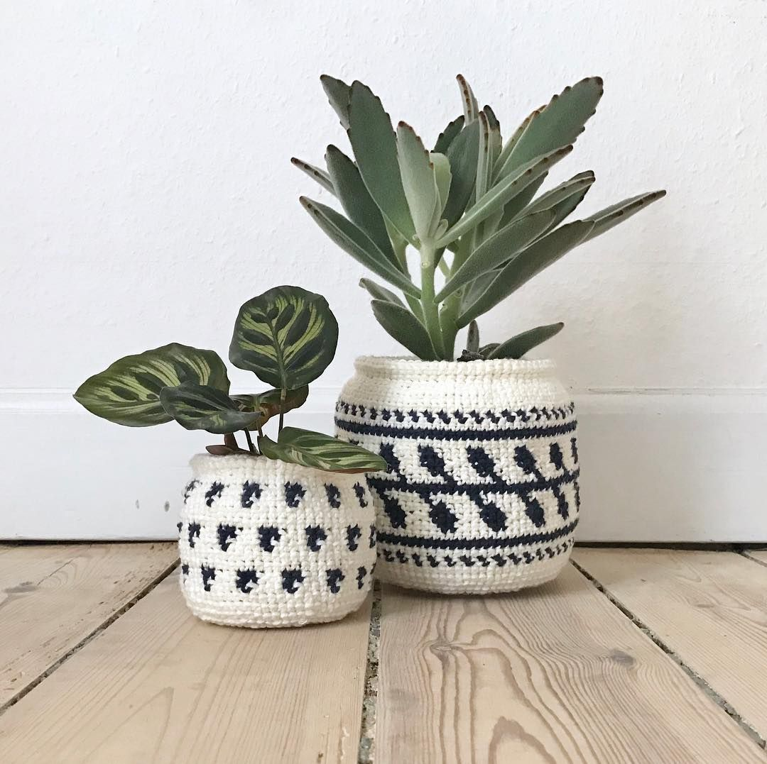 Macetas De Mimbre Diy Crocheted Plant Pots By Boy Knits World Grenediy