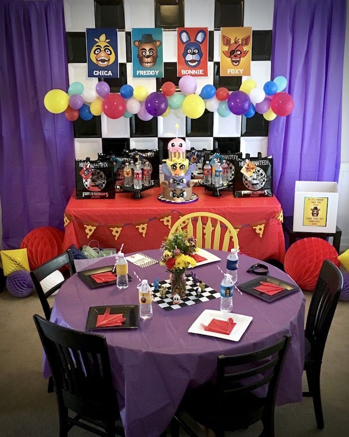 Party Setup From A Five Nights At Freddy S Birthday On Kara Ideas Karaspartyideas