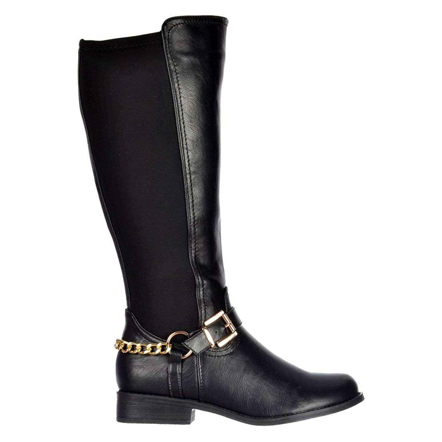 b888973eeec0 Onlineshoe Women s Extra Wide Calf Stretch Knee High Flat Gold Buckle  Riding Boot -- Click image for more details.