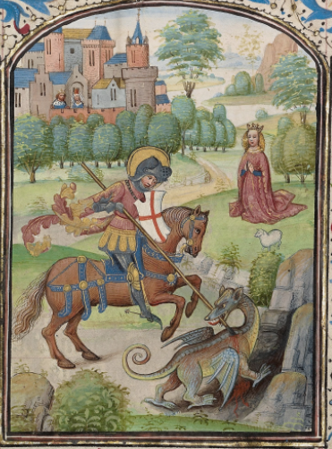 Willem Vrelant, St. George and the Dragon, early 1460s (Flemish). Tempera colors, gold leaf, and ink on parchment. MS Ludwig IX 8, fol. 47. Getty Museum, Los Angeles