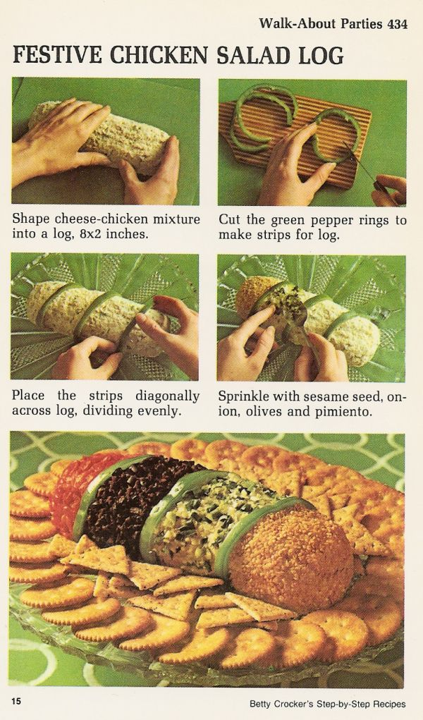 Festive chicken salad log walk about parties vintage recipe card festive chicken salad log walk about parties vintage recipe card betty crockers step by forumfinder Gallery