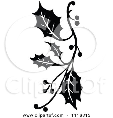 Clipart Retro Vintage Black And White Christmas Holly Sprig Design Christmas Holly Free Vector Illustration White Christmas