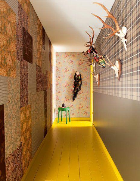la d co passe au color block d co r tro pinterest papier peint couloir et peindre. Black Bedroom Furniture Sets. Home Design Ideas
