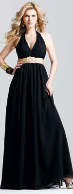 FINAL SALE! Prom Dresses by Faviana-Chiffon Halter Gown with Braided Satin Waist Detail-Sizes 2-16