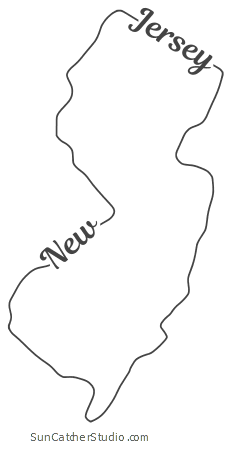New Jersey Map Outline New Jersey – Map Outline, Printable State, Shape, Stencil, Pattern