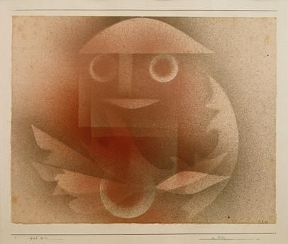 """Klee, Paul; 1879–1940.  """"Der Pilz"""", 1925 (1925, 224).  Aquarell, Gespritzt, auf Papier auf Karton, 22,9/23,3 x 29,6 cm."""