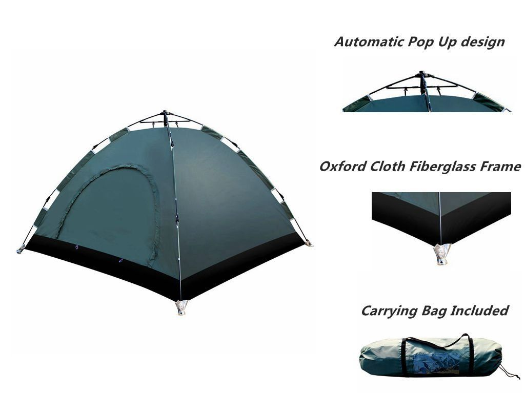 bba6f654618 EverKing Automatic Hydraulic Camping Tent, 3 - 4 Persons Instant Pop Up  Family Tent Waterproof for Outdoor Camping Hiking Backpacking, Ultralight  with ...
