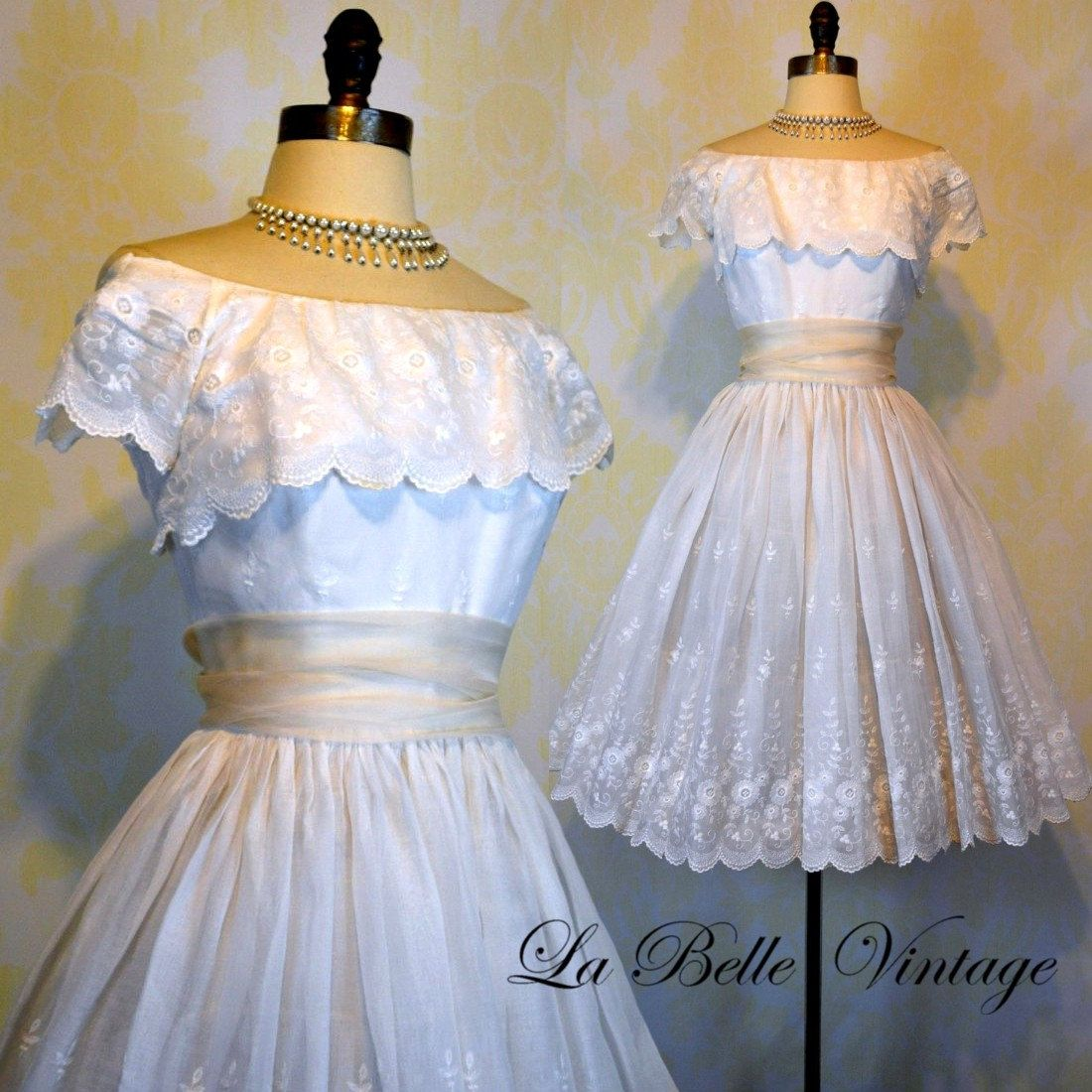Vintage Wedding Dress Xs: Suzy Perette Vintage 50s Wedding Dress XS S By