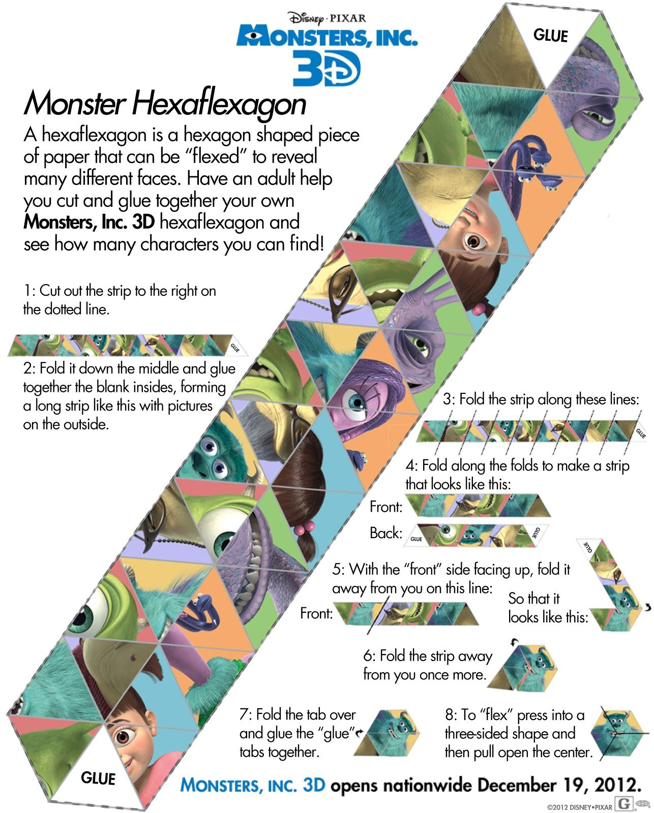 monsters inc hexaflexagon disney pinterest monsters and