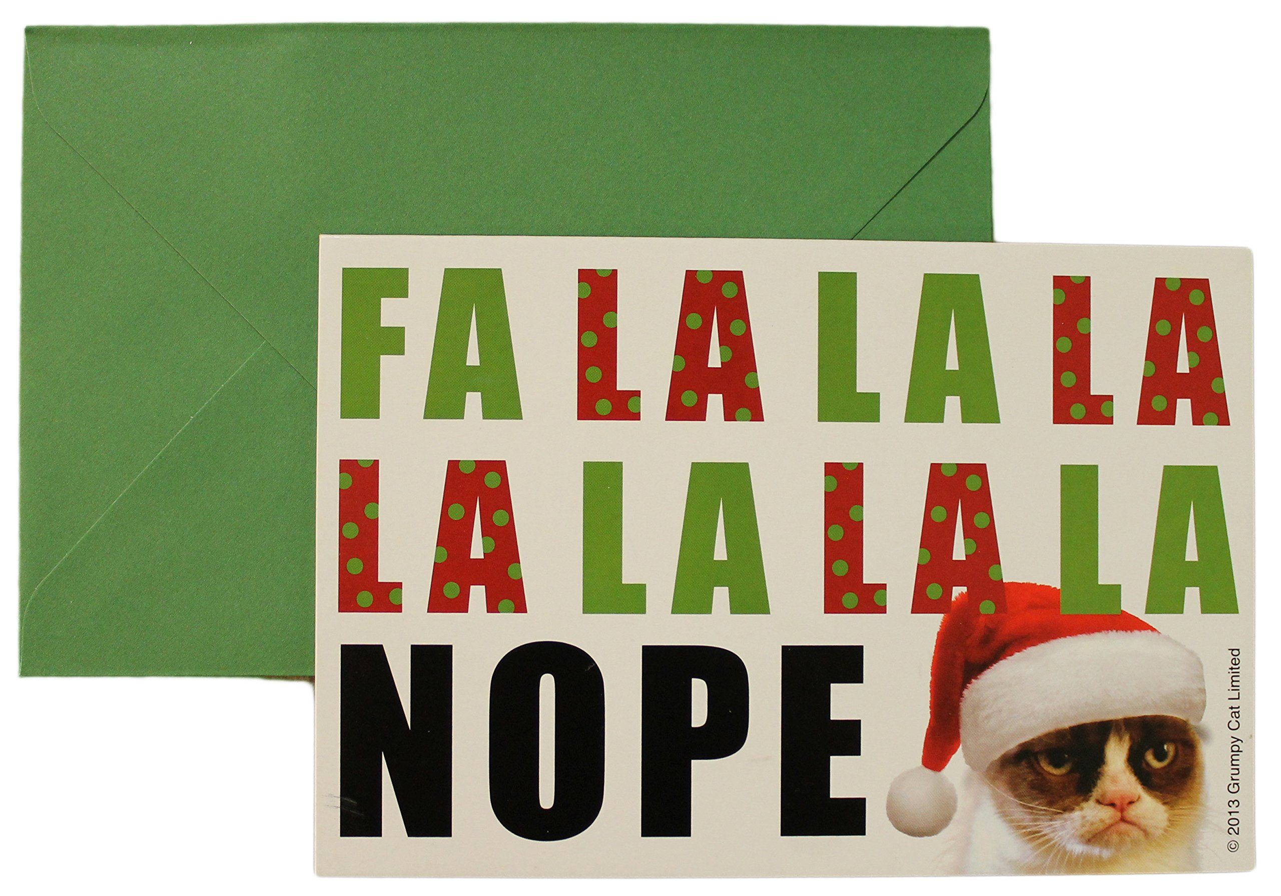 Grumpy Cat Fa La La La NOPE Christmas Cards (Pack Of 8 w/ envelopes ...