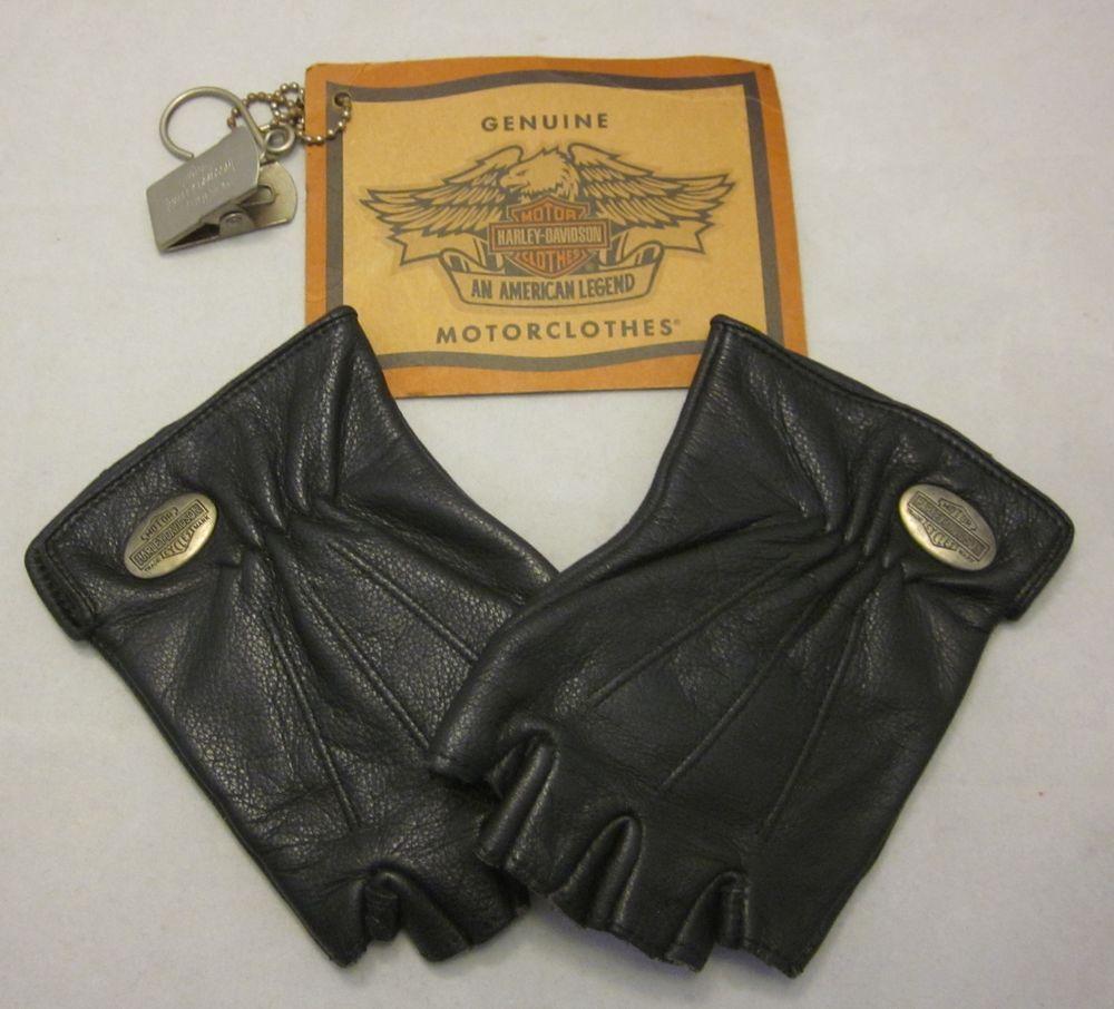 Black leather gloves small - Womens Harley Davidson Fingerless Leather Gloves Small Black Silver Metal Logo Harleydavidson Driving