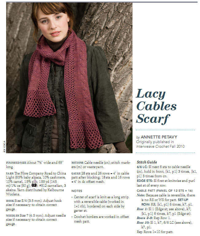 Lacy Cables Scarf