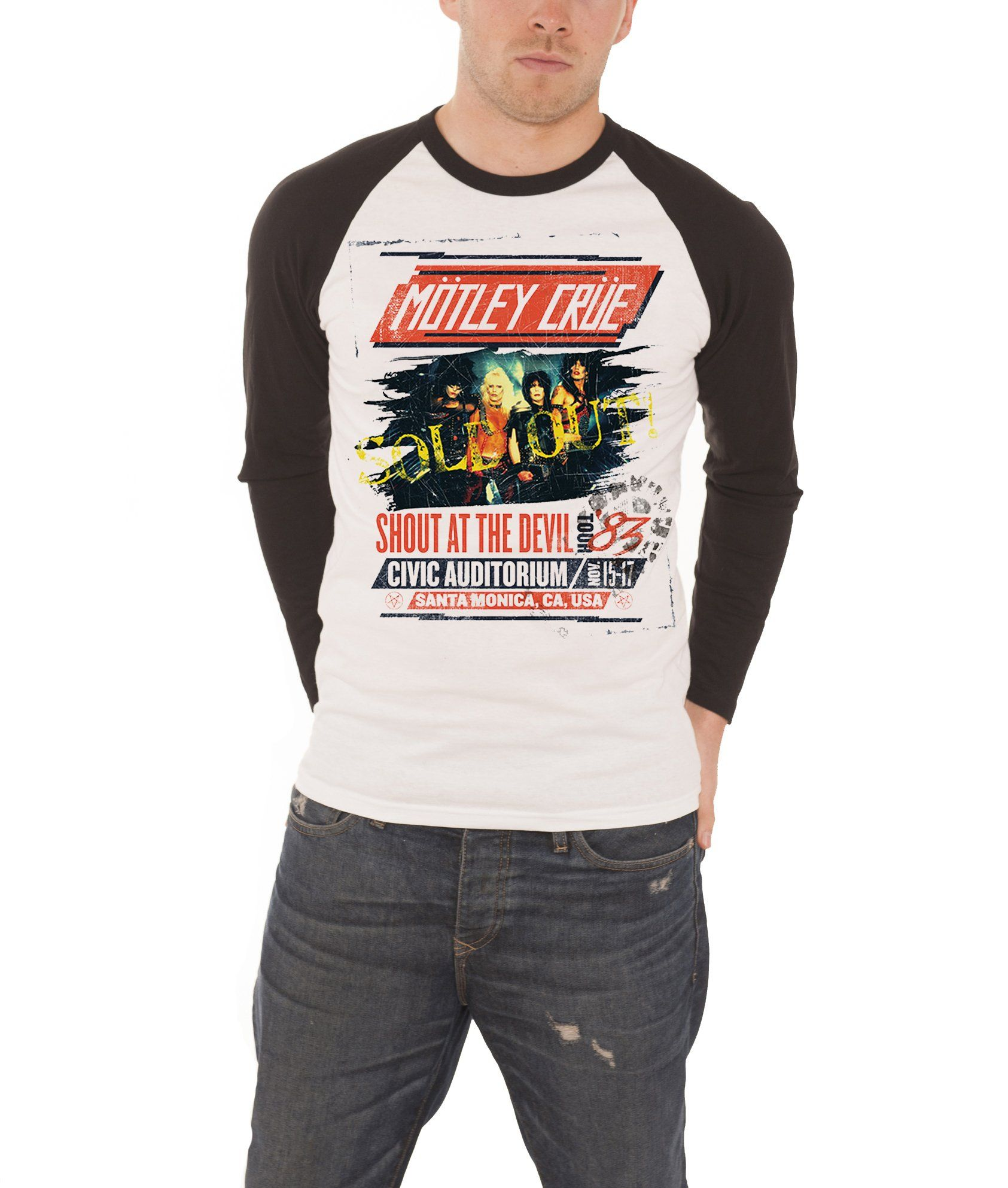 ea38919325f Motley Crue Shout at the devil Tour Poster Official Mens New Baseball Shirt