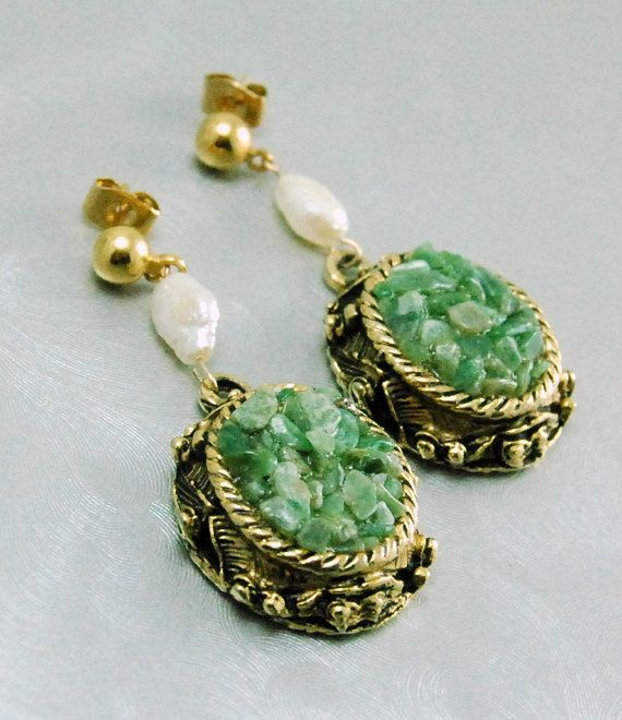 Jade and Pearl Dangle Earrings Upcycled by emmjeyessvintage, $36.00