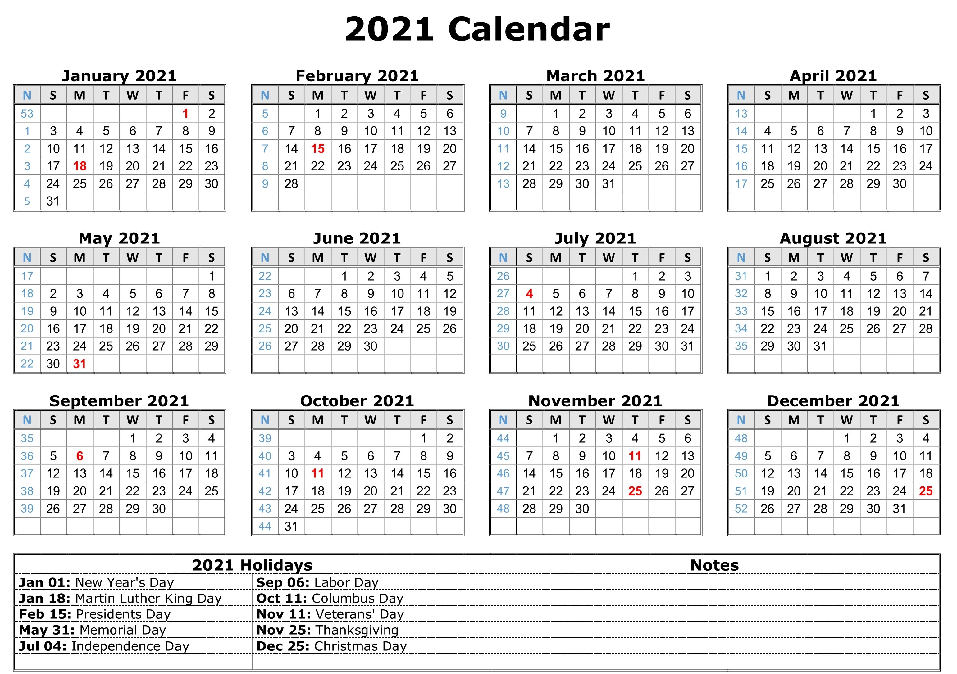 Pictures of 2021 Printable Calendar One Page With Holidays