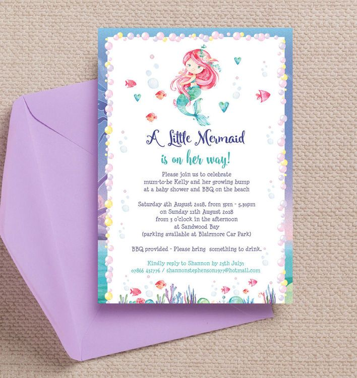 Mermaid baby shower invitation babies mermaid baby shower invitation personalised kids invites customise online with live preview as you filmwisefo