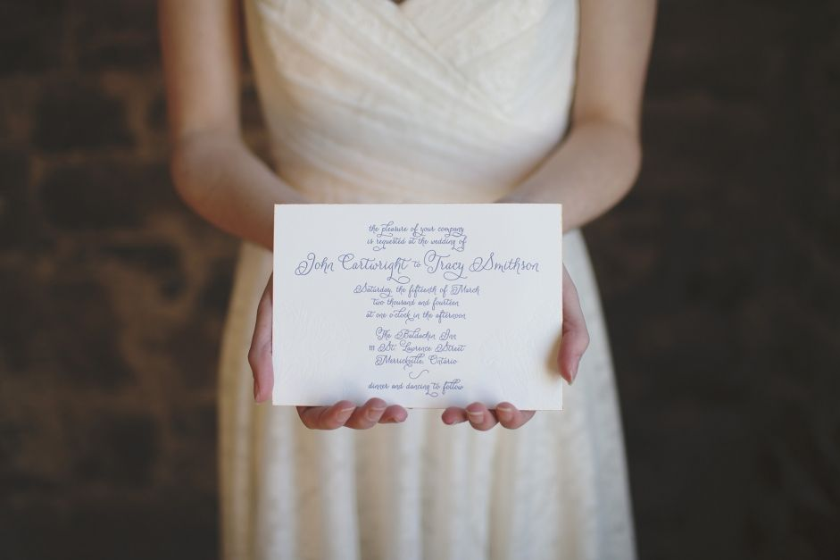 Beautiful letter press invitation! https://www.facebook.com/focalpointdesignsanddecor?ref=hl  photo credit: www.melissajohnstonphotography.com Stationary: http://lushpress.ca/ Venue: http://www.baldachin.com/ Wedding Dress: http://www.withlovebridalboutique.ca/