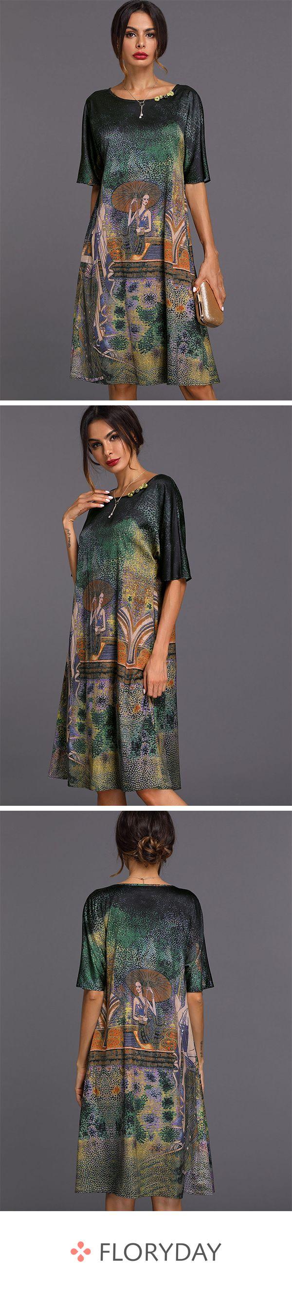 A-Linien-Kleider mit geometrischen Applikationen und halblangen Ärmel #kleidersale