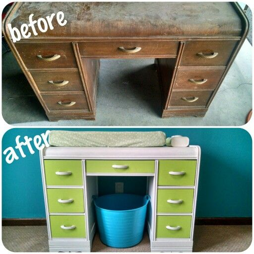 Diy Refurbish Old Desk Into Changing Table For Nursery