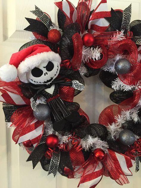 Photo of Nightmare Before Christmas,Jack Skellington Wreath,Christmas Mesh Wreath,Christmas Wreath,Front Door Christmas,Holiday Wreath,Christmas Mesh