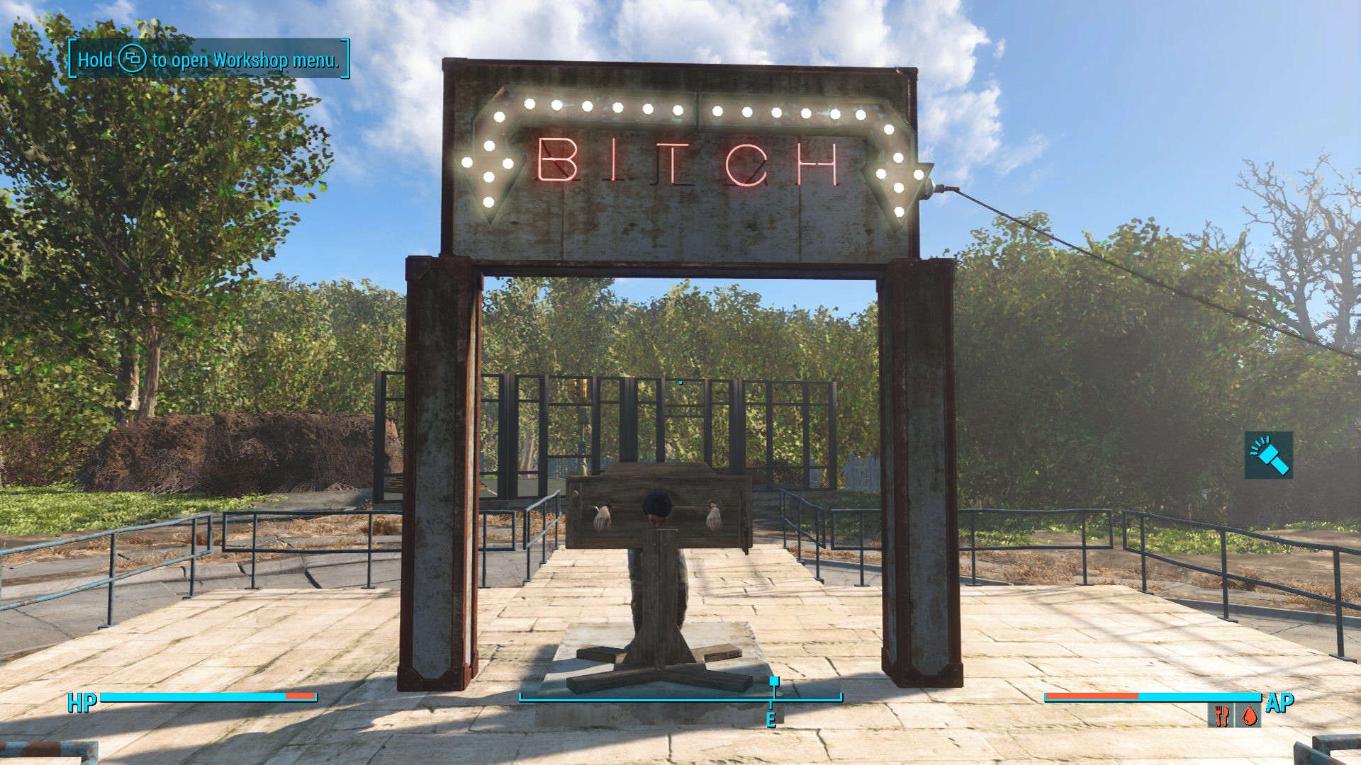 Can T Believe I Never Thought To Put Marcy Long In This Thing Fallout4 Gaming Fallout Bethesda Game Fallout 4 Settlement Ideas Fallout Settlement Fallout