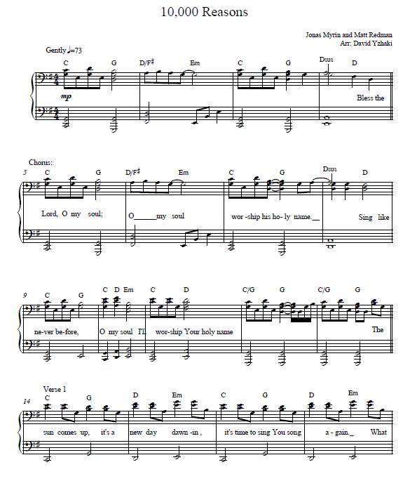 Here's The 10000 Reasons Piano Sheet