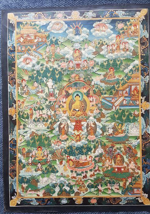 Handbeschilderde boeddhistische thangka the live of buddha - Tibet - twee helft 20e eeuw  Een handbeschilderde Boeddhistische gesigneerde thanka op linnen. Tafereel van the live of buddha. Zeer gedetailleerde beschilderinge in goede conditie.thanka - lengte 483 cm breedte 355 cmLijst - Lengte 66 cm breedte 56 cmDe aankoop wordt aangetekend toegestuurd  EUR 1.00  Meer informatie