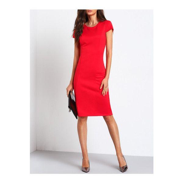 SheIn(sheinside) Red Cap Sleeve Knee-length Pencil Dress