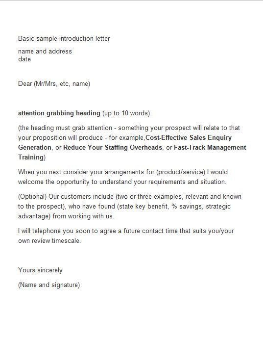 40 Letter Of Introduction Templates Examples Introduction